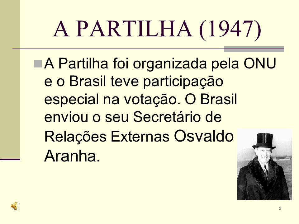 A PARTILHA (1947) A Partilha foi organizada pela ONU e o Brasil teve participação especial na votação.