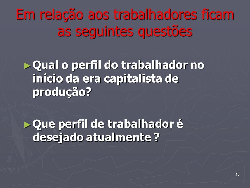 13 Em relação aos trabalhadores ficam as seguintes questões Qual o perfil do trabalhador no início da era capitalista de produção? Qual o perfil do tr