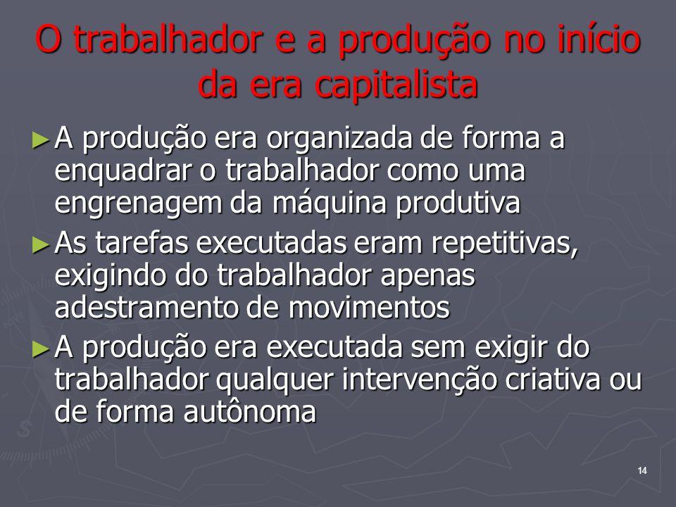 14 O trabalhador e a produção no início da era capitalista A produção era organizada de forma a enquadrar o trabalhador como uma engrenagem da máquina