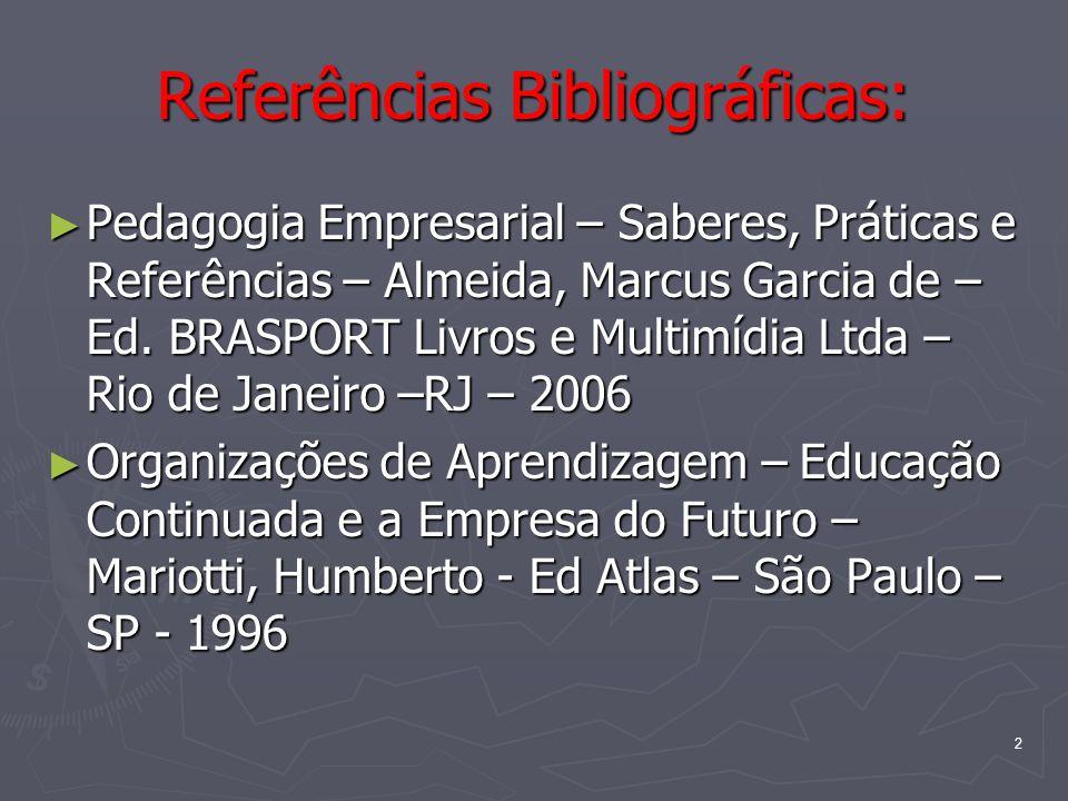 2 Referências Bibliográficas: Pedagogia Empresarial – Saberes, Práticas e Referências – Almeida, Marcus Garcia de – Ed. BRASPORT Livros e Multimídia L
