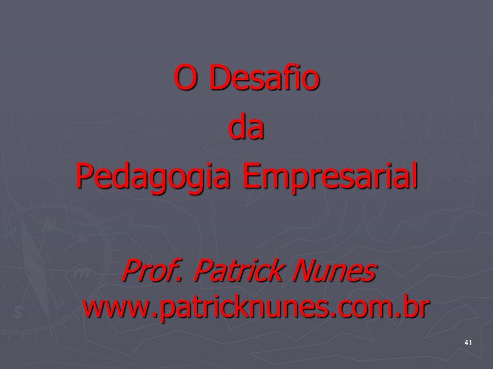 41 O Desafio da Pedagogia Empresarial Prof. Patrick Nunes www.patricknunes.com.br