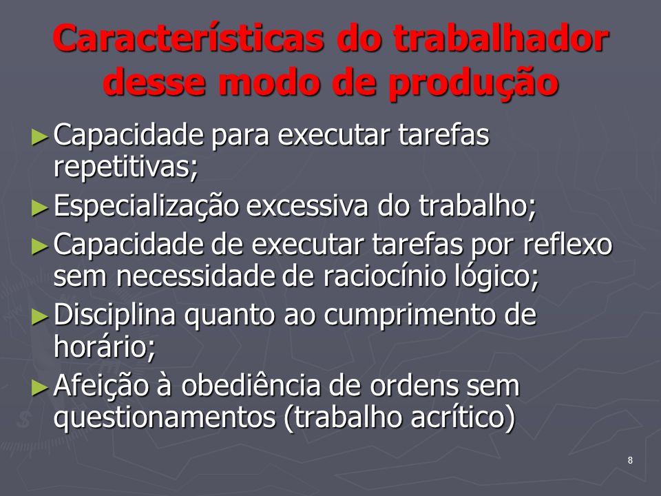 8 Características do trabalhador desse modo de produção Capacidade para executar tarefas repetitivas; Capacidade para executar tarefas repetitivas; Es