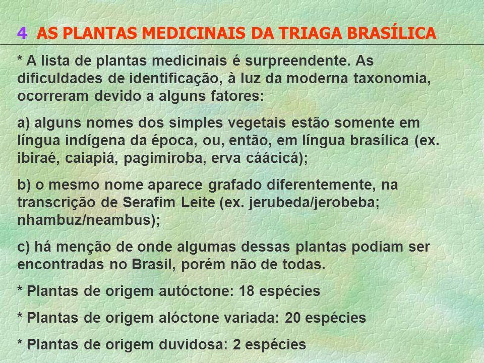 4 AS PLANTAS MEDICINAIS DA TRIAGA BRASÍLICA * A lista de plantas medicinais é surpreendente. As dificuldades de identificação, à luz da moderna taxono