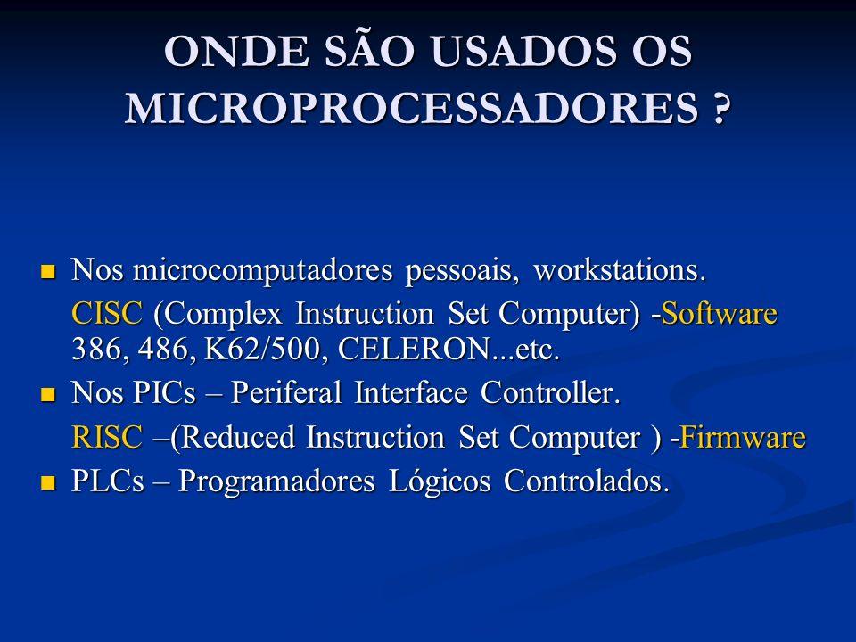 ONDE SÃO USADOS OS MICROPROCESSADORES ? Nos microcomputadores pessoais, workstations. Nos microcomputadores pessoais, workstations. CISC (Complex Inst