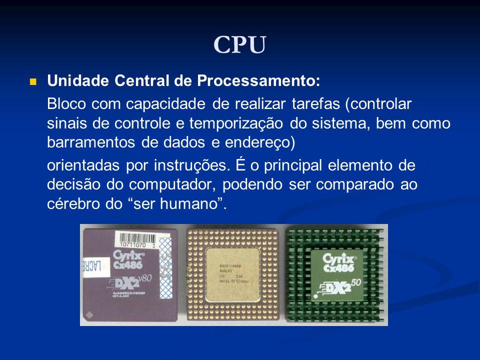 CPU Unidade Central de Processamento: Bloco com capacidade de realizar tarefas (controlar sinais de controle e temporização do sistema, bem como barra