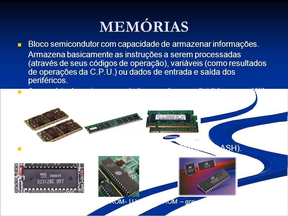 MEMÓRIAS Bloco semicondutor com capacidade de armazenar informações. Armazena basicamente as instruções a serem processadas (através de seus códigos d