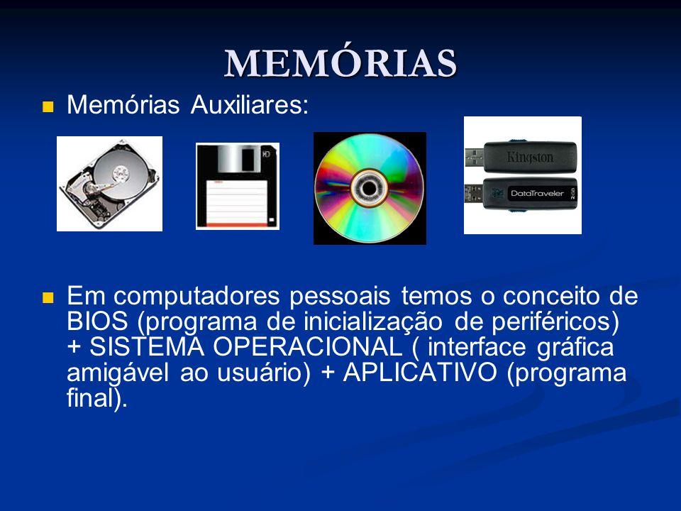 MEMÓRIAS Memórias Auxiliares: Em computadores pessoais temos o conceito de BIOS (programa de inicialização de periféricos) + SISTEMA OPERACIONAL ( int