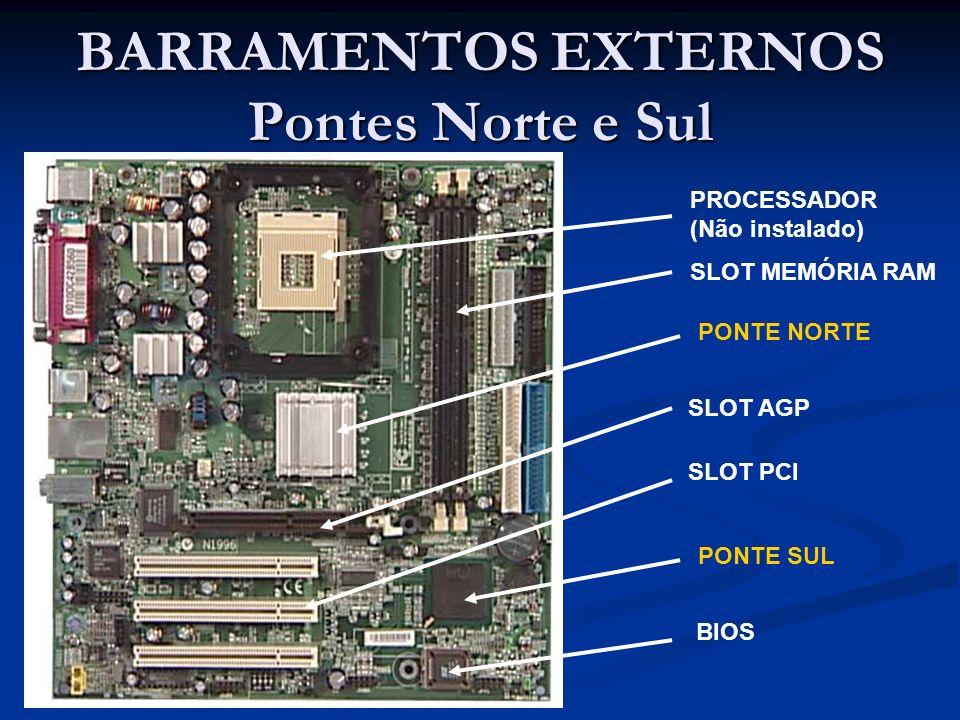 BARRAMENTOS EXTERNOS Pontes Norte e Sul PONTE NORTE PONTE SUL PROCESSADOR (Não instalado) SLOT AGP SLOT PCI SLOT MEMÓRIA RAM BIOS