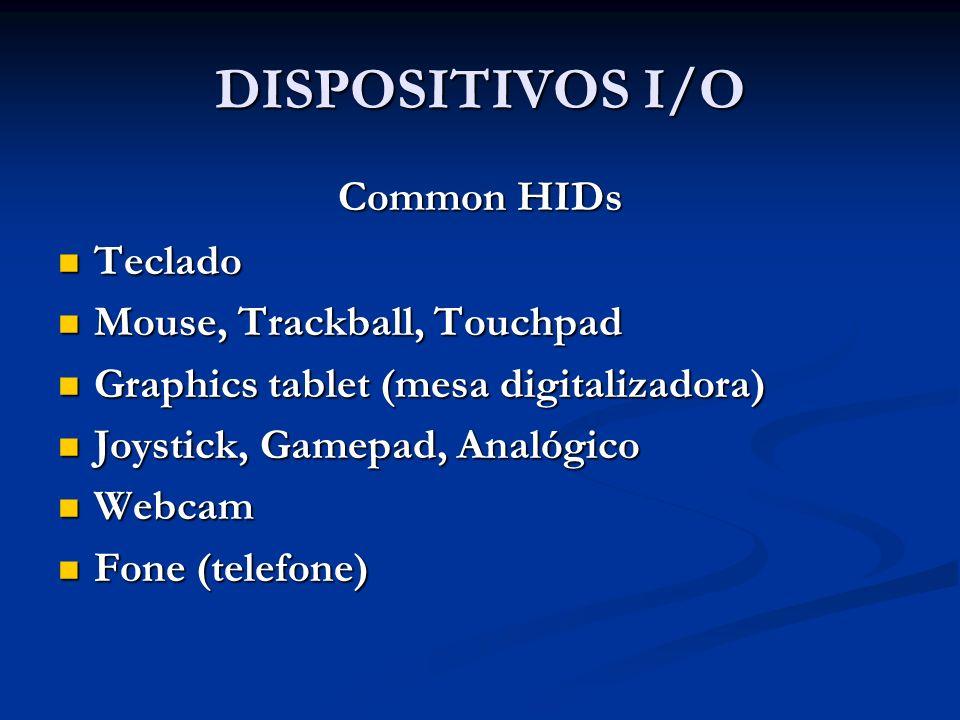 DISPOSITIVOS I/O Common HIDs Teclado Teclado Mouse, Trackball, Touchpad Mouse, Trackball, Touchpad Graphics tablet (mesa digitalizadora) Graphics tabl
