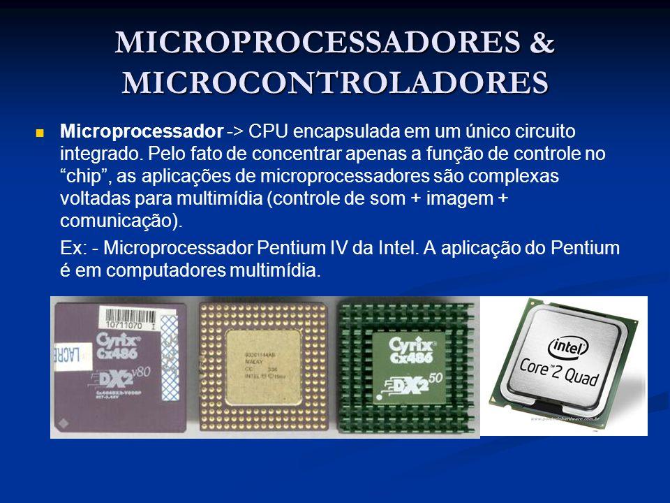 MICROPROCESSADORES & MICROCONTROLADORES Microprocessador -> CPU encapsulada em um único circuito integrado. Pelo fato de concentrar apenas a função de