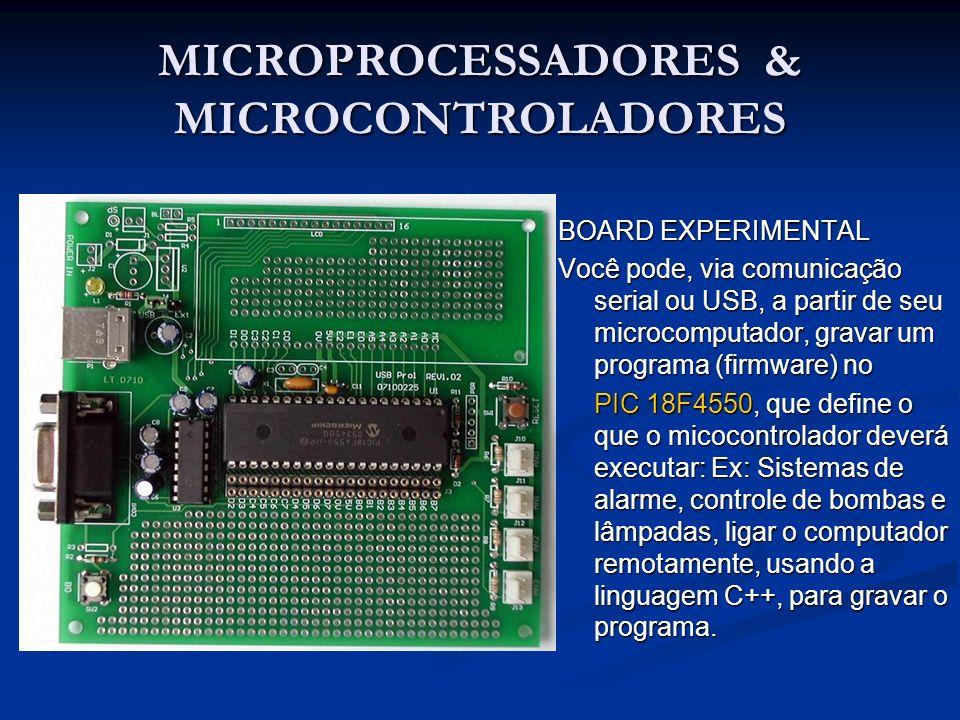 MICROPROCESSADORES & MICROCONTROLADORES BOARD EXPERIMENTAL Você pode, via comunicação serial ou USB, a partir de seu microcomputador, gravar um progra