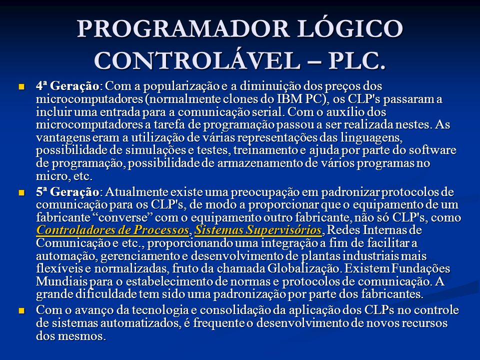 PROGRAMADOR LÓGICO CONTROLÁVEL – PLC. 4ª Geração: Com a popularização e a diminuição dos preços dos microcomputadores (normalmente clones do IBM PC),