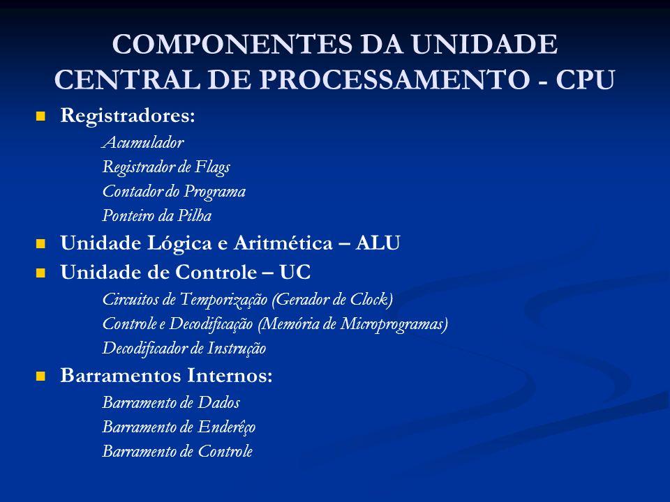 COMPONENTES DA UNIDADE CENTRAL DE PROCESSAMENTO - CPU Registradores: Acumulador Registrador de Flags Contador do Programa Ponteiro da Pilha Unidade Ló