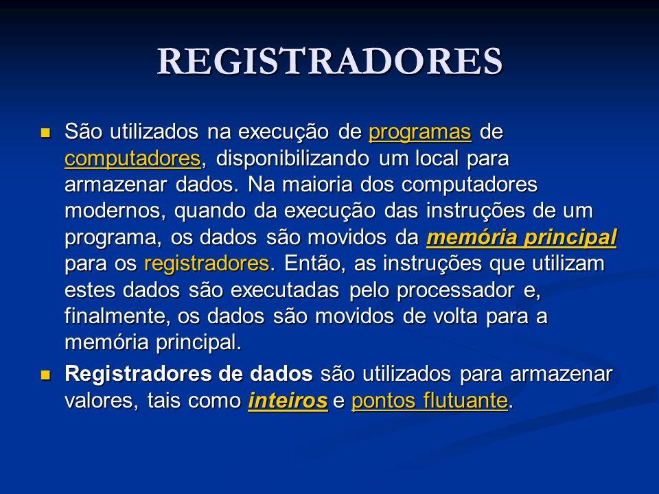 REGISTRADORES São utilizados na execução de programas de computadores, disponibilizando um local para armazenar dados. Na maioria dos computadores mod