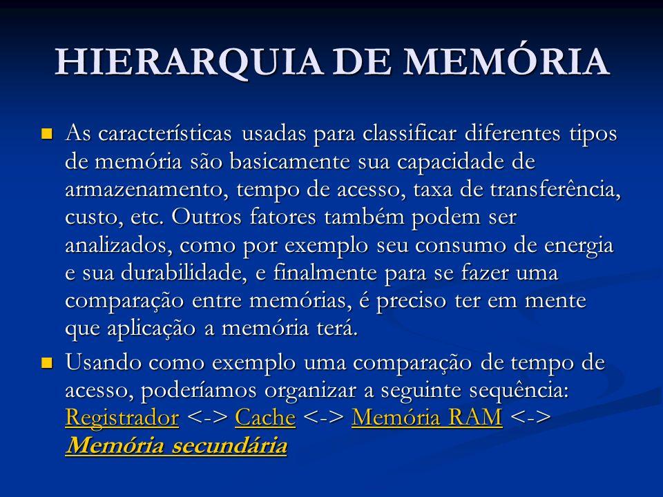 HIERARQUIA DE MEMÓRIA As características usadas para classificar diferentes tipos de memória são basicamente sua capacidade de armazenamento, tempo de