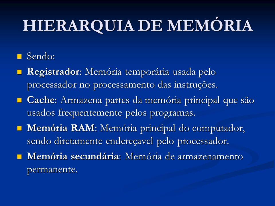 HIERARQUIA DE MEMÓRIA Sendo: Sendo: Registrador: Memória temporária usada pelo processador no processamento das instruções. Registrador: Memória tempo