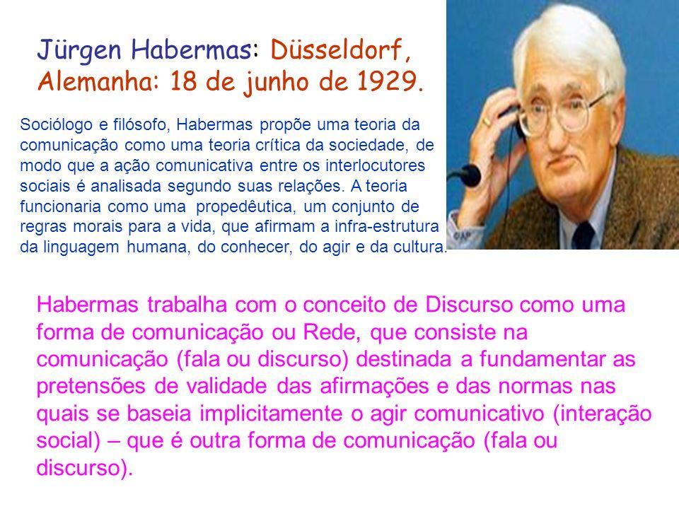 Jürgen Habermas: Düsseldorf, Alemanha: 18 de junho de 1929. Sociólogo e filósofo, Habermas propõe uma teoria da comunicação como uma teoria crítica da