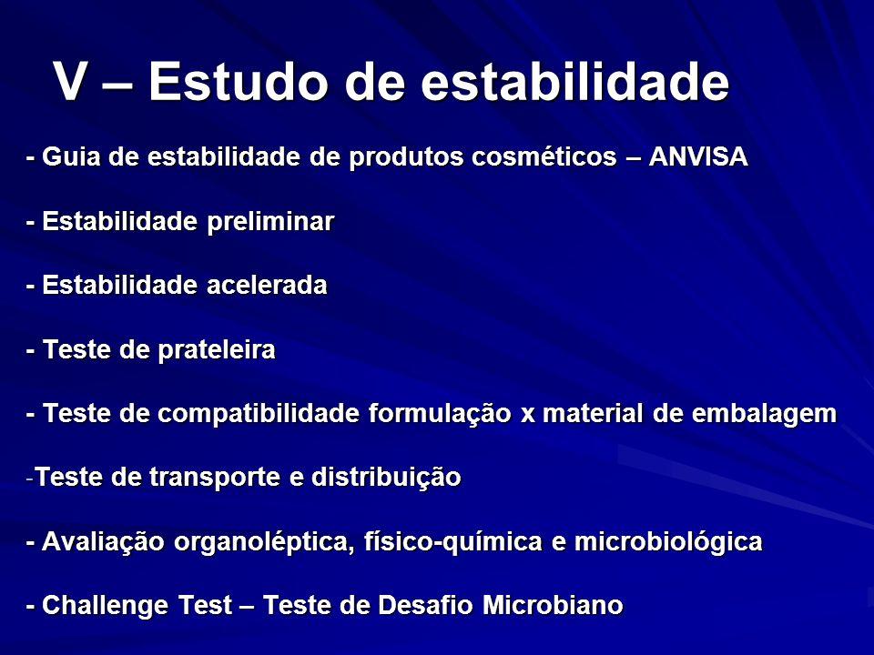 V – Estudo de estabilidade - Guia de estabilidade de produtos cosméticos – ANVISA - Estabilidade preliminar - Estabilidade acelerada - Teste de pratel