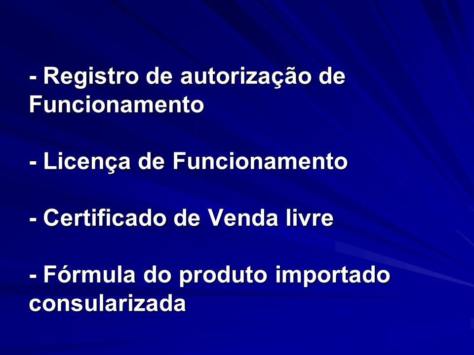 - Registro de autorização de Funcionamento - Licença de Funcionamento - Certificado de Venda livre - Fórmula do produto importado consularizada