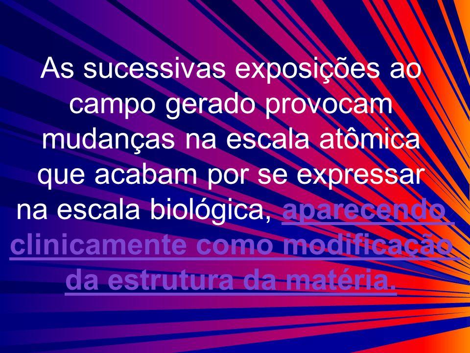 As sucessivas exposições ao campo gerado provocam mudanças na escala atômica que acabam por se expressar na escala biológica, aparecendo clinicamente