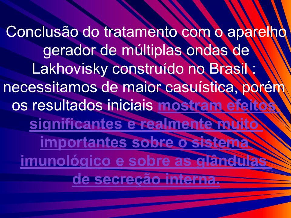 Conclusão do tratamento com o aparelho gerador de múltiplas ondas de Lakhovisky construído no Brasil : necessitamos de maior casuística, porém os resu