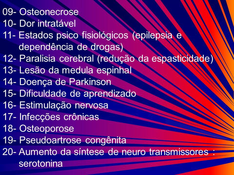 09- Osteonecrose 10- Dor intratável 11- Estados psico fisiológicos (epilepsia e dependência de drogas) 12- Paralisia cerebral (redução da espasticidad