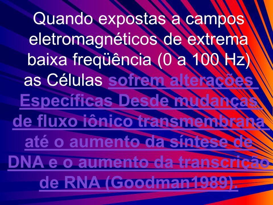Quando expostas a campos eletromagnéticos de extrema baixa freqüência (0 a 100 Hz) as Células sofrem alterações Específicas Desde mudanças de fluxo iô