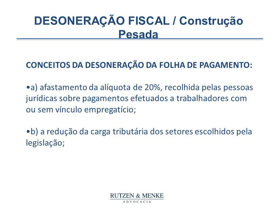 DESONERAÇÃO FISCAL / Construção Pesada CONCEITOS DA DESONERAÇÃO DA FOLHA DE PAGAMENTO: a) afastamento da alíquota de 20%, recolhida pelas pessoas jurí