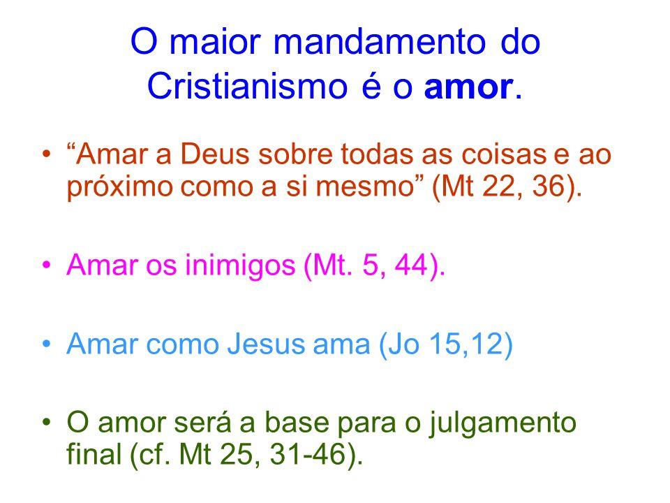 O maior mandamento do Cristianismo é o amor. Amar a Deus sobre todas as coisas e ao próximo como a si mesmo (Mt 22, 36). Amar os inimigos (Mt. 5, 44).