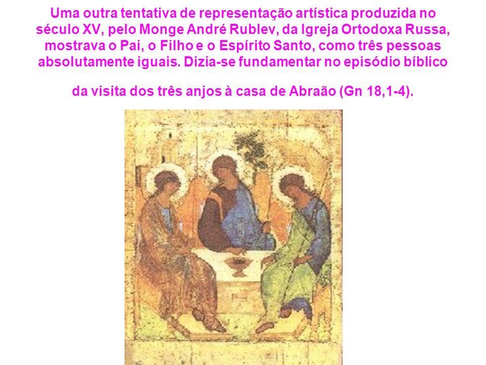 Uma outra tentativa de representação artística produzida no século XV, pelo Monge André Rublev, da Igreja Ortodoxa Russa, mostrava o Pai, o Filho e o