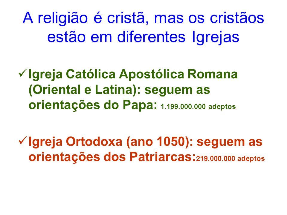 A religião é cristã, mas os cristãos estão em diferentes Igrejas Igreja Católica Apostólica Romana (Oriental e Latina): seguem as orientações do Papa: