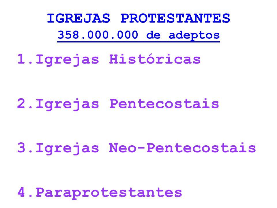 IGREJAS PROTESTANTES 358.000.000 de adeptos 1.Igrejas Históricas 2.Igrejas Pentecostais 3.Igrejas Neo-Pentecostais 4.Paraprotestantes