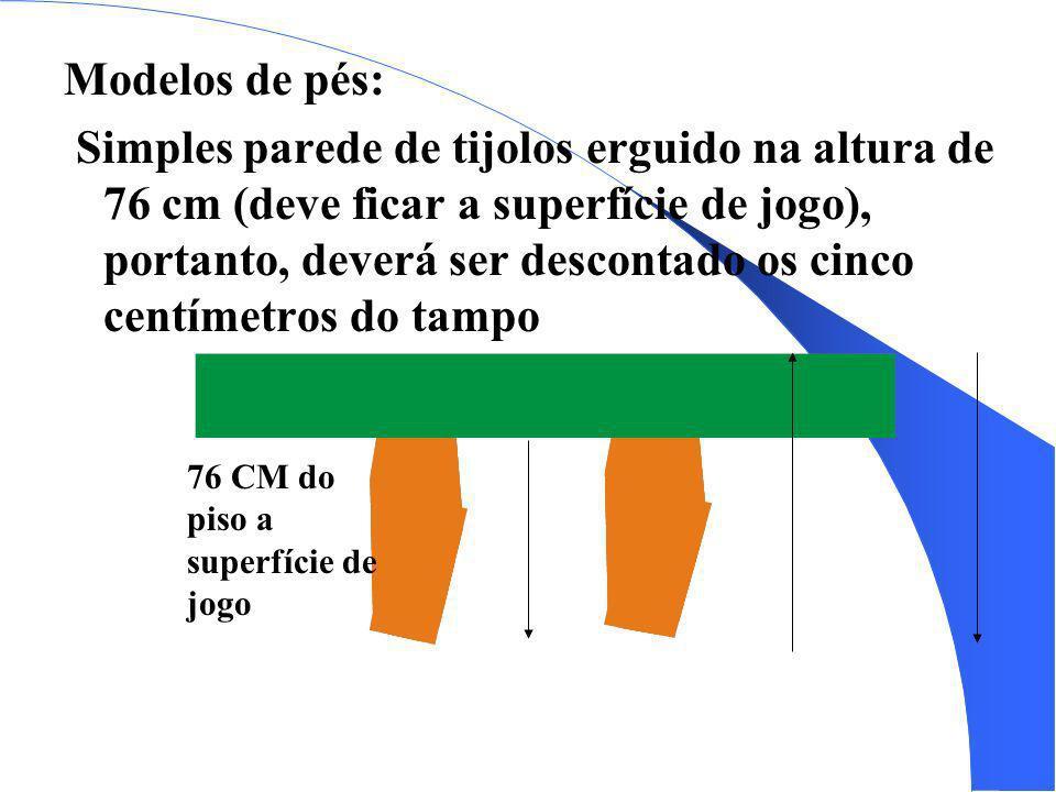 Modelos de pés: Simples parede de tijolos erguido na altura de 76 cm (deve ficar a superfície de jogo), portanto, deverá ser descontado os cinco centí