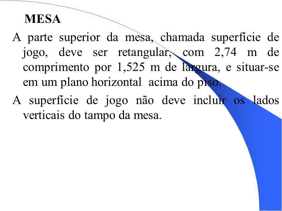 A MESA A parte superior da mesa, chamada superfície de jogo, deve ser retangular, com 2,74 m de comprimento por 1,525 m de largura, e situar-se em um