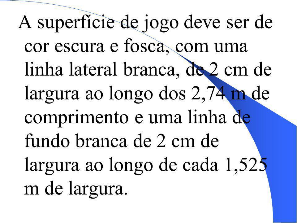 A superfície de jogo deve ser de cor escura e fosca, com uma linha lateral branca, de 2 cm de largura ao longo dos 2,74 m de comprimento e uma linha d