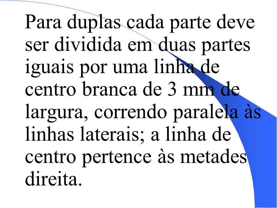 Para duplas cada parte deve ser dividida em duas partes iguais por uma linha de centro branca de 3 mm de largura, correndo paralela às linhas laterais