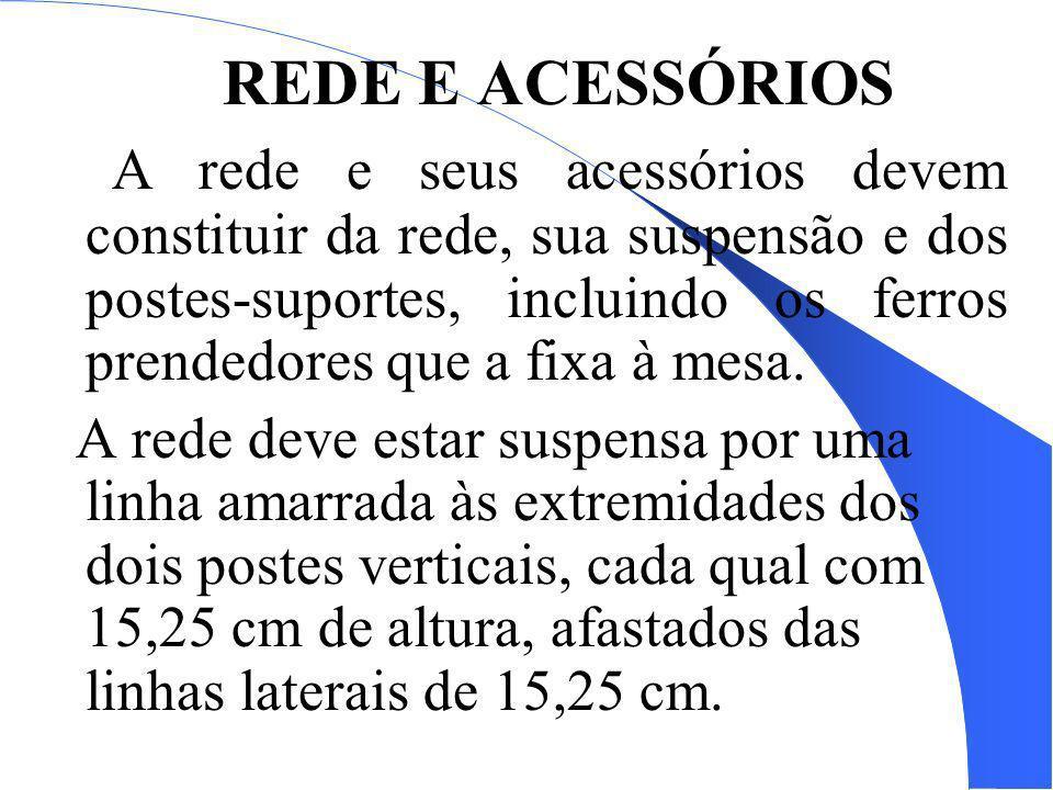 REDE E ACESSÓRIOS A rede e seus acessórios devem constituir da rede, sua suspensão e dos postes-suportes, incluindo os ferros prendedores que a fixa à
