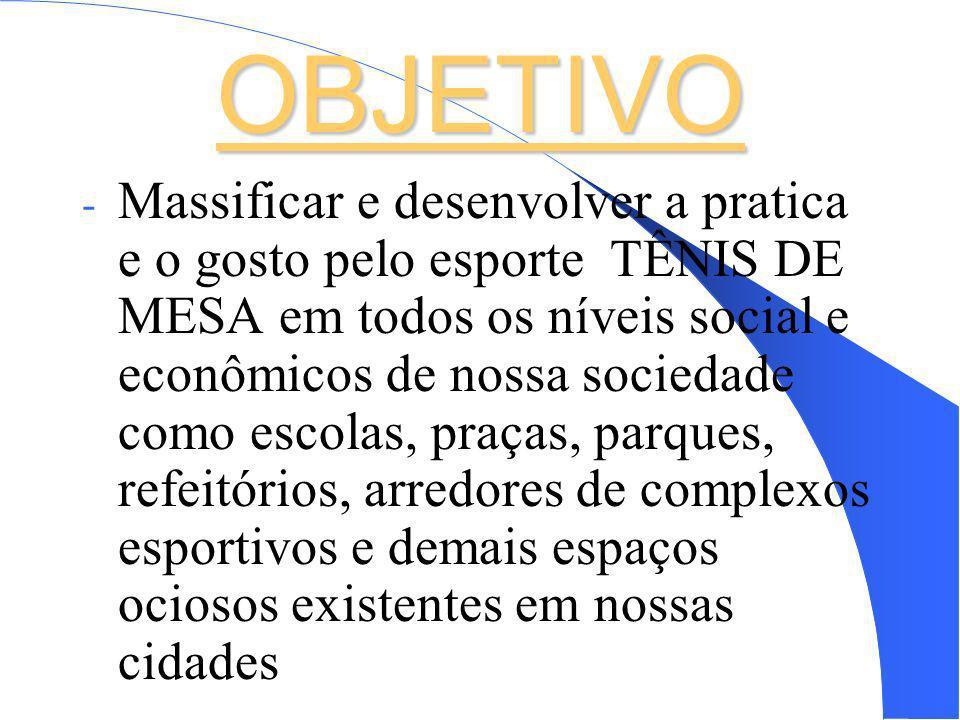 OBJETIVO - Massificar e desenvolver a pratica e o gosto pelo esporte TÊNIS DE MESA em todos os níveis social e econômicos de nossa sociedade como esco