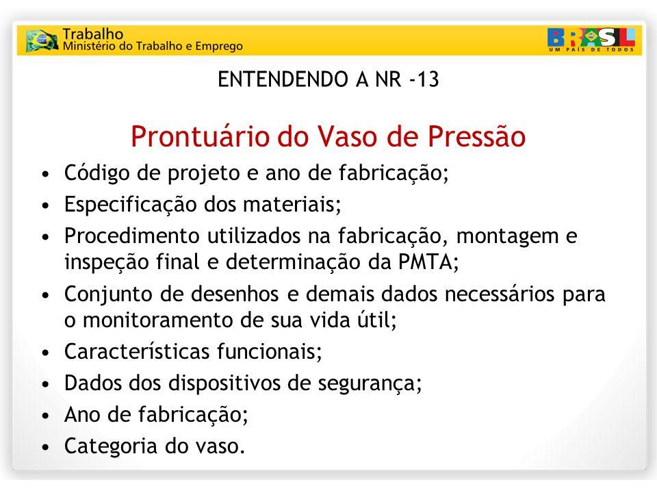ENTENDENDO A NR -13 Prontuário do Vaso de Pressão Código de projeto e ano de fabricação; Especificação dos materiais; Procedimento utilizados na fabri