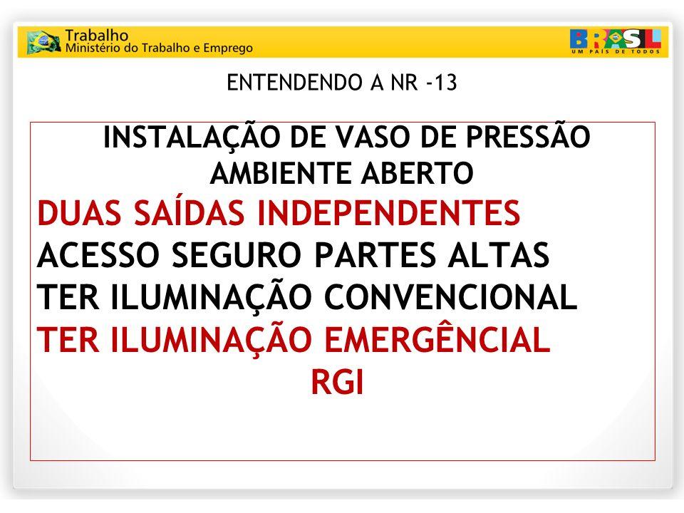 ENTENDENDO A NR -13 INSTALAÇÃO DE VASO DE PRESSÃO AMBIENTE ABERTO DUAS SAÍDAS INDEPENDENTES ACESSO SEGURO PARTES ALTAS TER ILUMINAÇÃO CONVENCIONAL TER