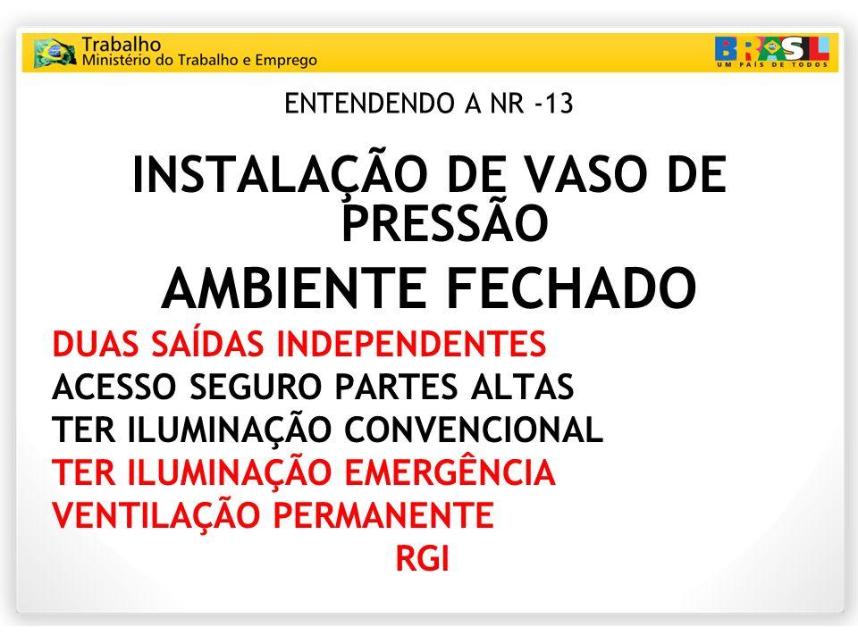 ENTENDENDO A NR -13 INSTALAÇÃO DE VASO DE PRESSÃO AMBIENTE FECHADO DUAS SAÍDAS INDEPENDENTES ACESSO SEGURO PARTES ALTAS TER ILUMINAÇÃO CONVENCIONAL TE