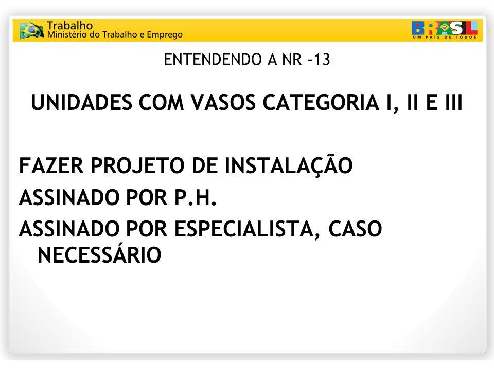 ENTENDENDO A NR -13 UNIDADES COM VASOS CATEGORIA I, II E III FAZER PROJETO DE INSTALAÇÃO ASSINADO POR P.H. ASSINADO POR ESPECIALISTA, CASO NECESSÁRIO