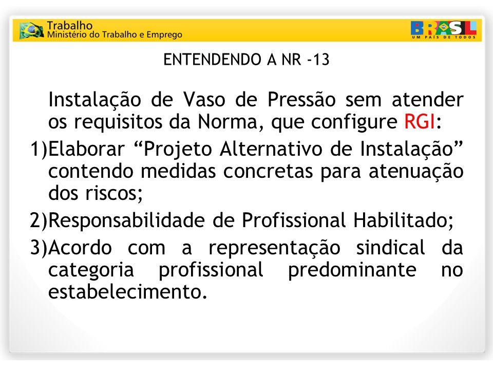 ENTENDENDO A NR -13 Instalação de Vaso de Pressão sem atender os requisitos da Norma, que configure RGI: 1)Elaborar Projeto Alternativo de Instalação