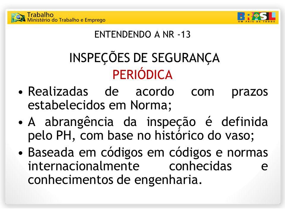 ENTENDENDO A NR -13 INSPEÇÕES DE SEGURANÇA PERIÓDICA Realizadas de acordo com prazos estabelecidos em Norma; A abrangência da inspeção é definida pelo