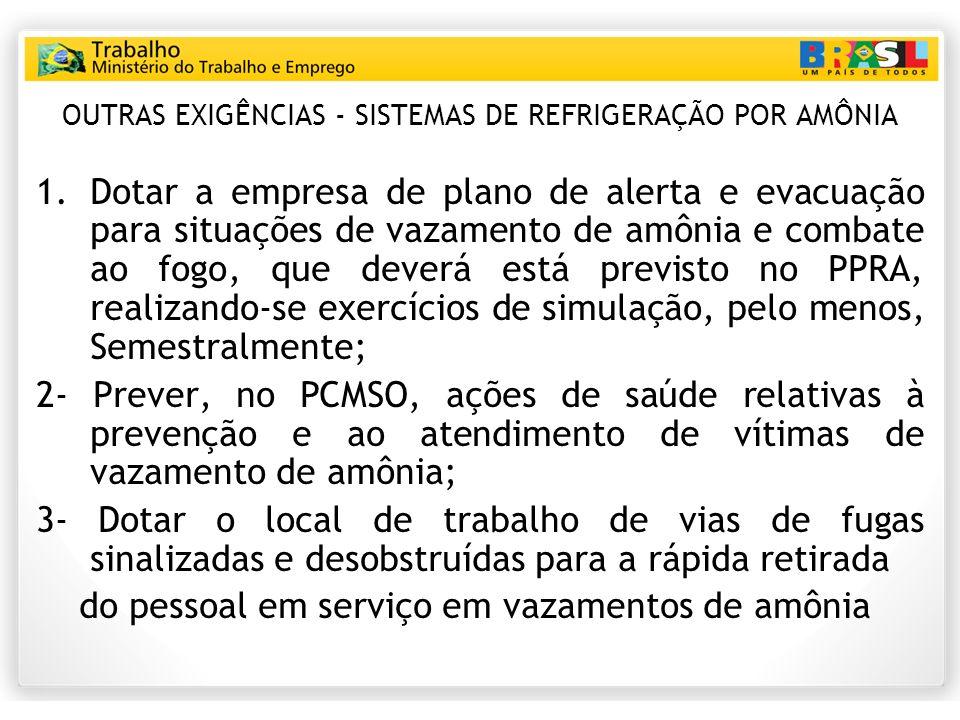 OUTRAS EXIGÊNCIAS - SISTEMAS DE REFRIGERAÇÃO POR AMÔNIA 1.Dotar a empresa de plano de alerta e evacuação para situações de vazamento de amônia e comba