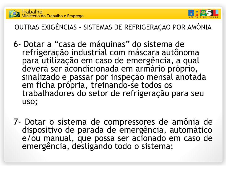 OUTRAS EXIGÊNCIAS - SISTEMAS DE REFRIGERAÇÃO POR AMÔNIA 6- Dotar a casa de máquinas do sistema de refrigeração industrial com máscara autônoma para ut