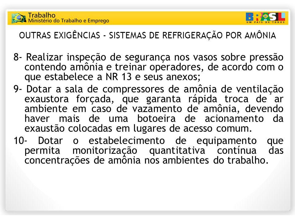 OUTRAS EXIGÊNCIAS - SISTEMAS DE REFRIGERAÇÃO POR AMÔNIA 8- Realizar inspeção de segurança nos vasos sobre pressão contendo amônia e treinar operadores