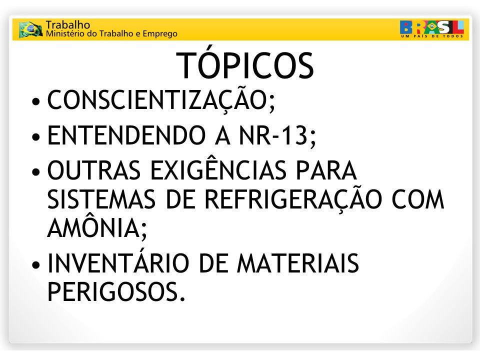 TÓPICOS CONSCIENTIZAÇÃO; ENTENDENDO A NR-13; OUTRAS EXIGÊNCIAS PARA SISTEMAS DE REFRIGERAÇÃO COM AMÔNIA; INVENTÁRIO DE MATERIAIS PERIGOSOS.