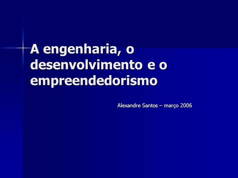 A engenharia, o desenvolvimento e o empreendedorismo Alexandre Santos – março 2006