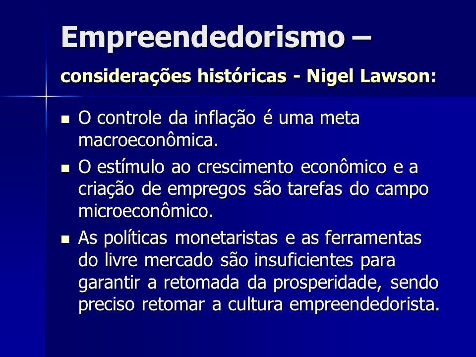 Empreendedorismo – considerações históricas - Nigel Lawson: O controle da inflação é uma meta macroeconômica. O controle da inflação é uma meta macroe